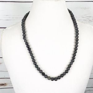 Black Matte Marble Beaded Necklace Long